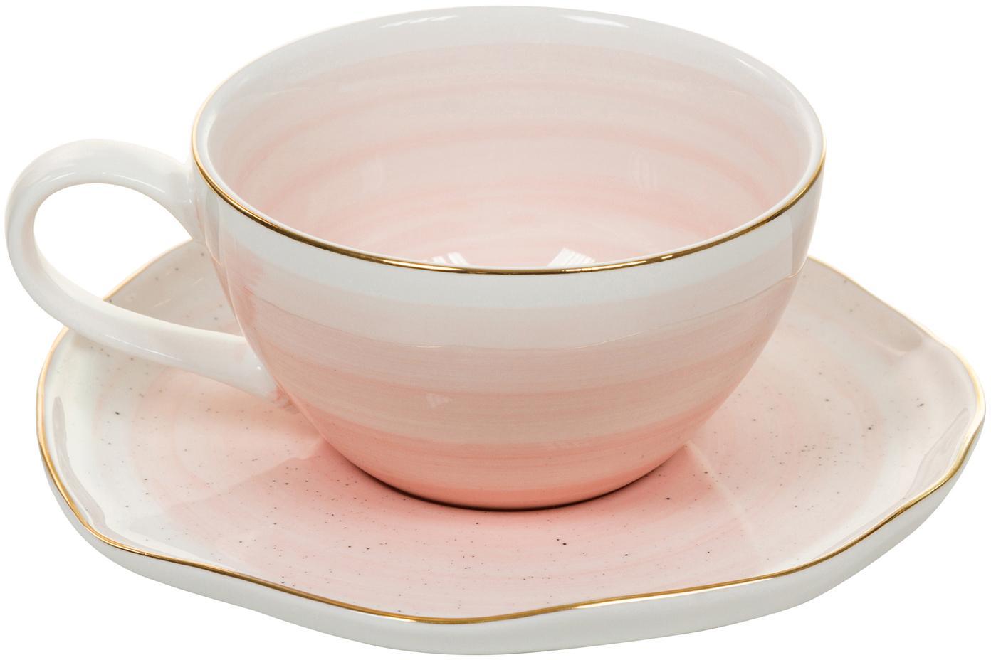 Komplet ręcznie wykonanych  filiżanek  Bol, 4 elem., Porcelana, Blady różowy, Ø 10 x W 6 cm