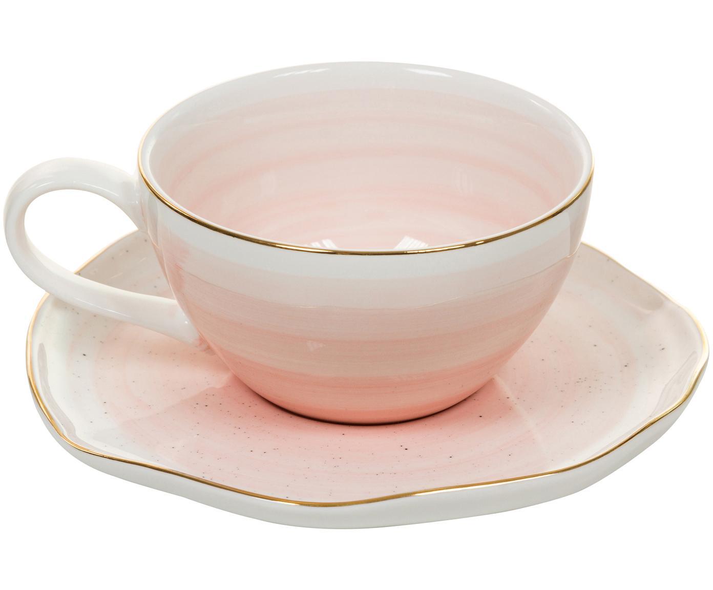 Handgefertigtes Tassen-Set Bol mit Goldrand, 4-tlg., Porzellan, Rosa, Ø 10 x H 6 cm