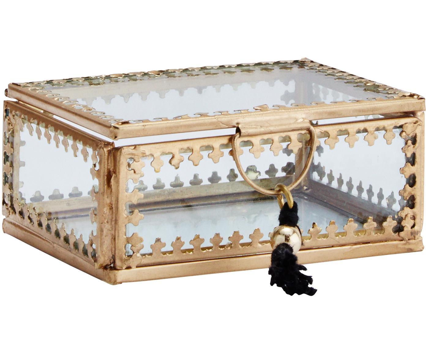 Scatola con coperchio Tinka, Cornice: metallo ottonato, Ottonato, Larg. 9 x Alt. 4 cm