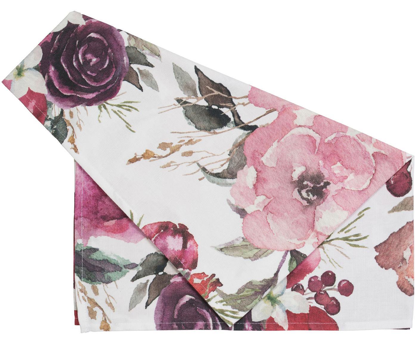 Runner Florisia, Cotone, Rosa, bianco, Larg. 50 x Lung. 160 cm