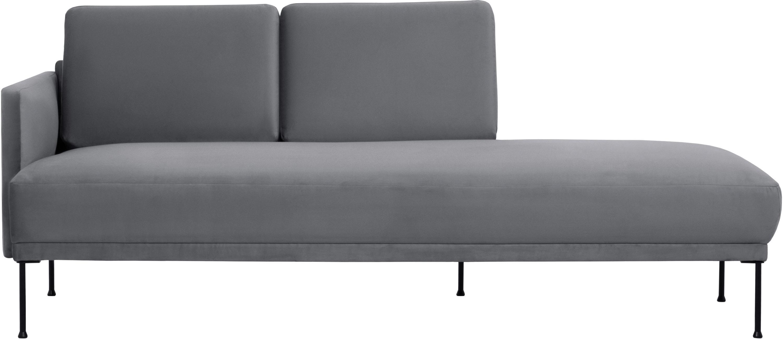 Fluwelen chaise longue Fluente, Bekleding: fluweel (hoogwaardig poly, Frame: massief grenenhout, Poten: gepoedercoat metaal, Bruingrijs, B 202 x D 85 cm