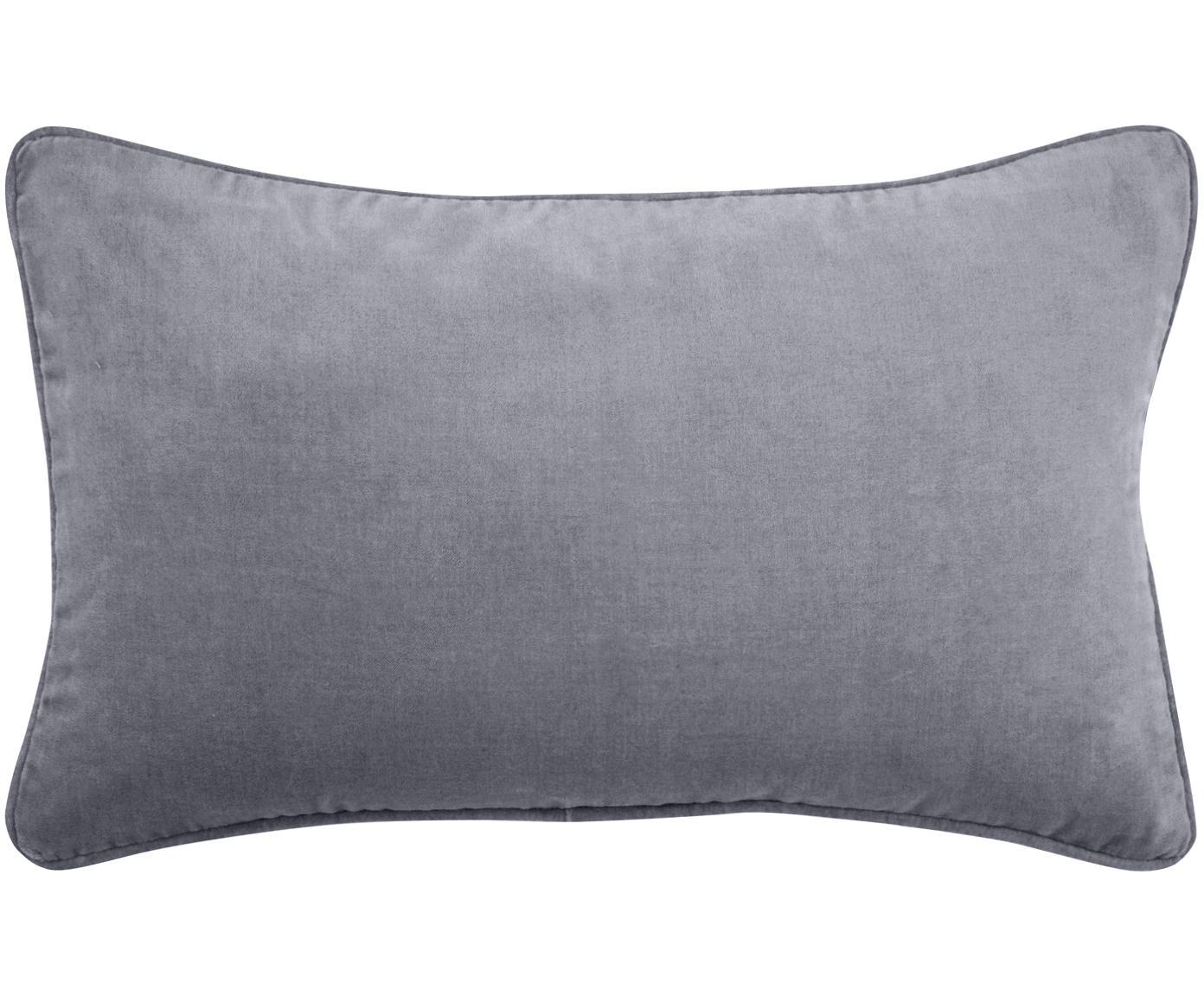 Effen fluwelen kussenhoes Dana in donkergrijs, Katoenfluweel, Donkergrijs, 30 x 50 cm