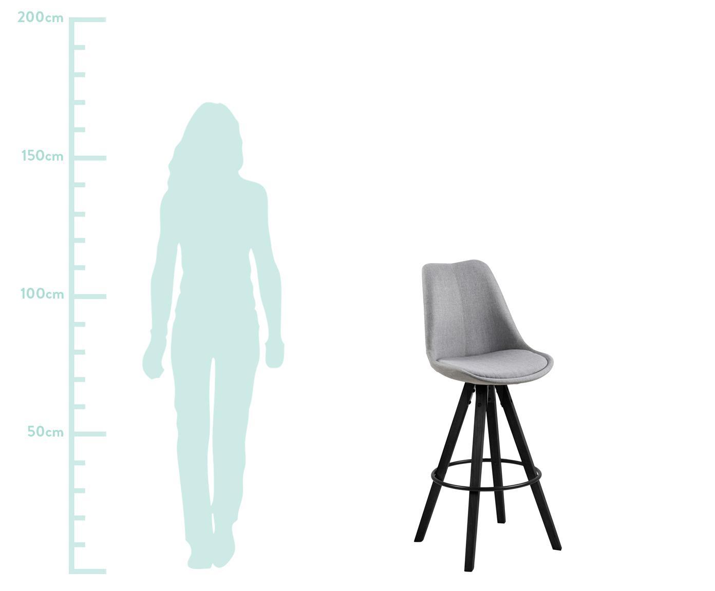 Barstühle Dima Textile, 2 Stück, Bezug: Polyester 25.000 Scheuert, Beine: Gummibaumholz, lackiert, Hellgrau, 49 x 112 cm