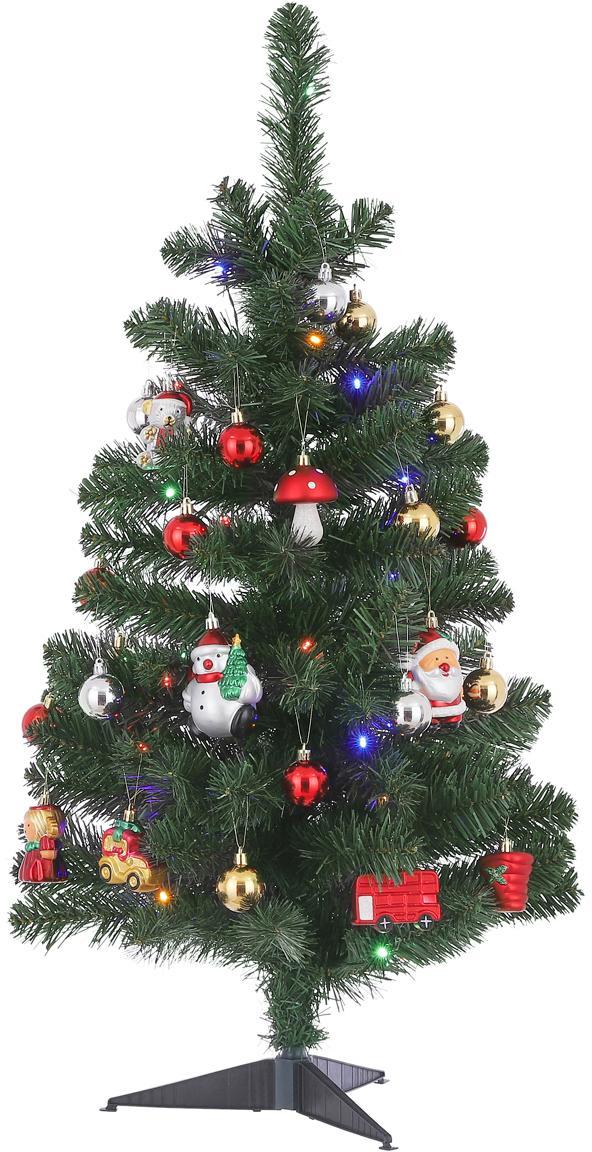 Künstlicher LED Weihnachtsbaum Gently, Kunststoff, Mehrfarbig, Ø 50 x H 90 cm