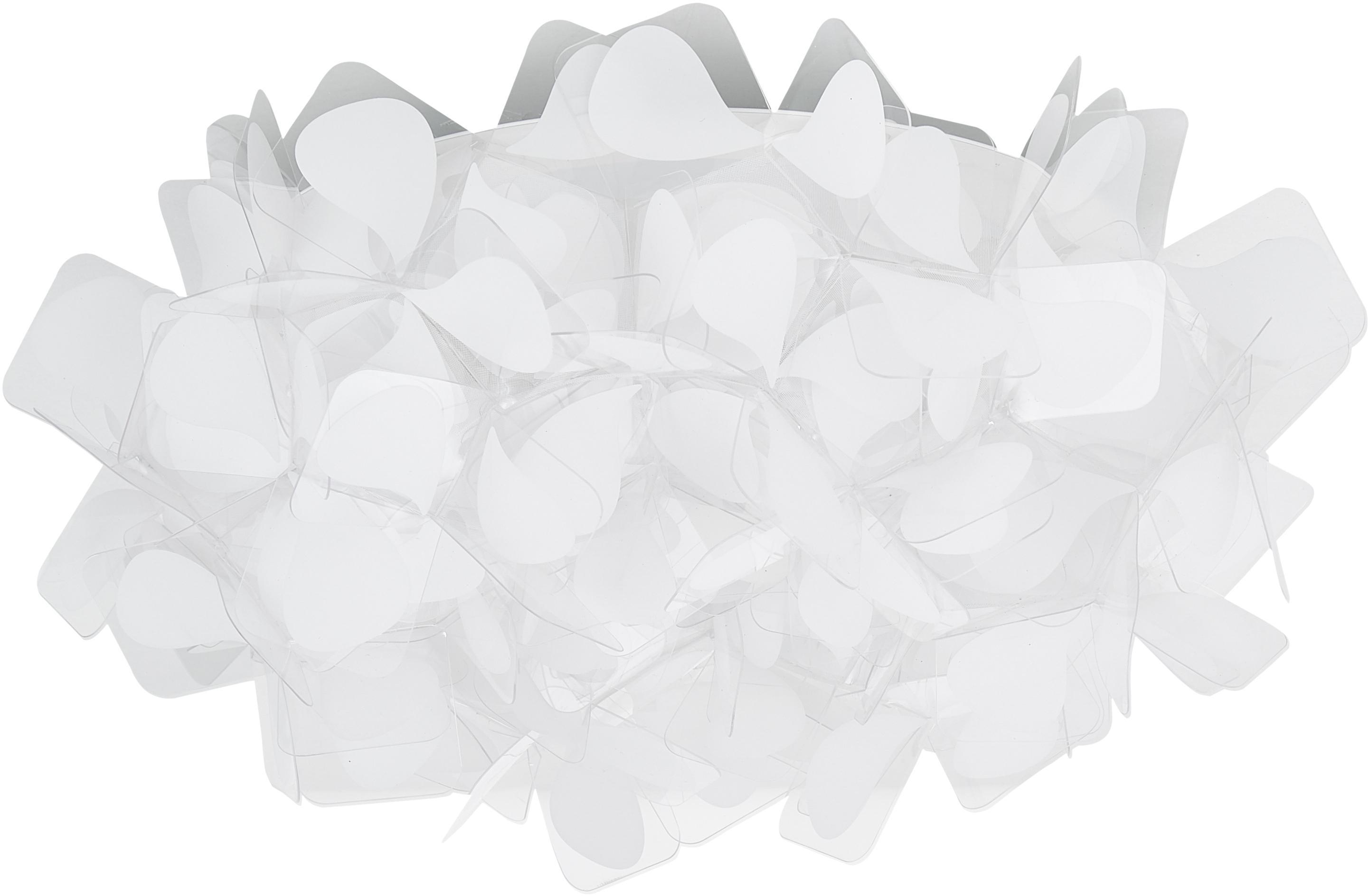 Handgefertigte Decken- und Wandleuchte Clizia Mama Non Mama, Technopolymer Opalflex®, recycelbar, bruchfest, flexibel, antistatisch beschichtet, UV- und hitzebeständig, Weiß, Grau, Ø 32 x T 15 cm