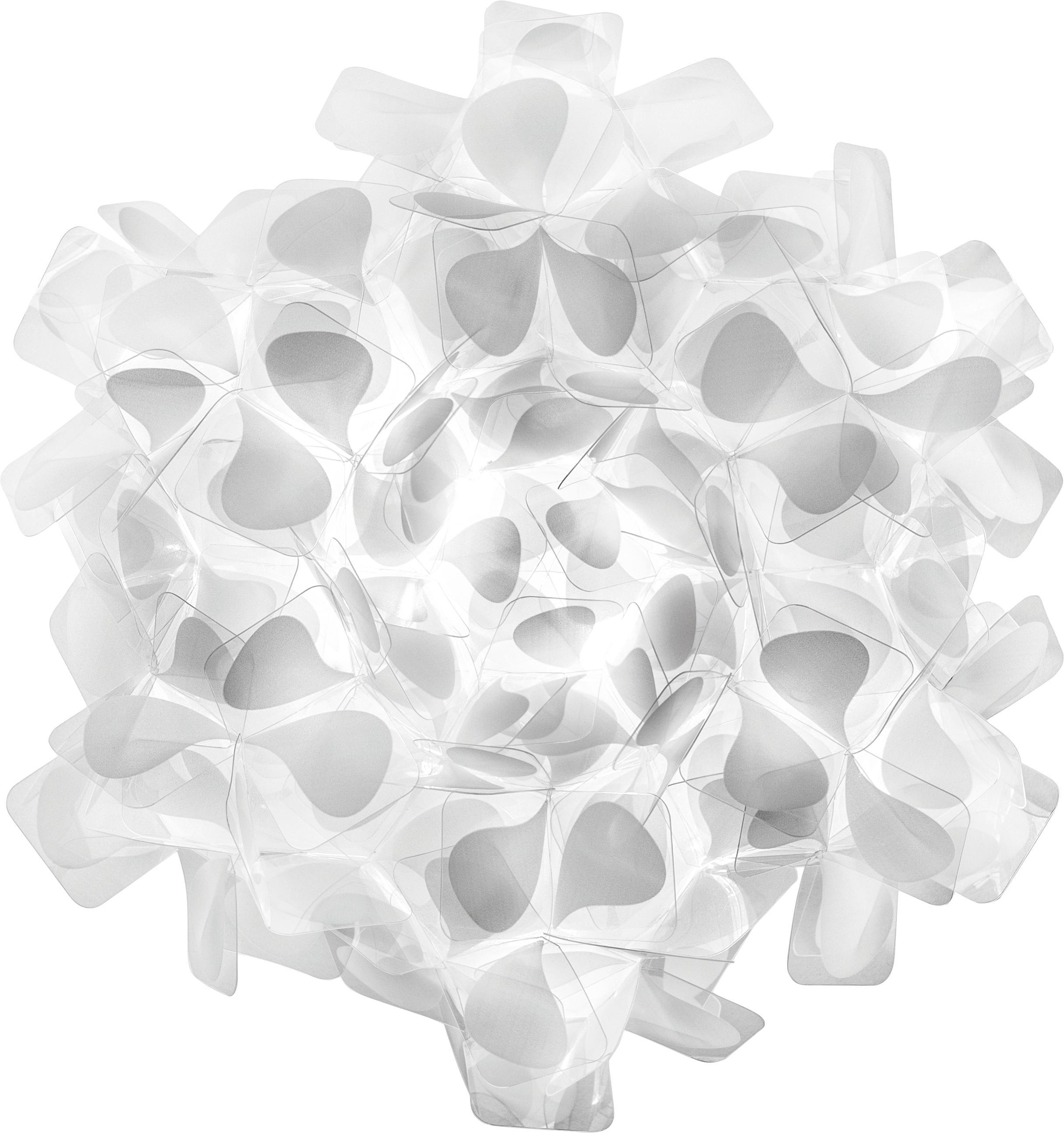 Handgemaakte wand- en plafondlamp Clizia Mama Non Mama, Technopolymeer Opalflex®, recyclebaar, onbreekbaar, flexibel, anti-statisch gecoat, UV- en hittebestendig, Wit, grijs, Ø 32 x D 15 cm