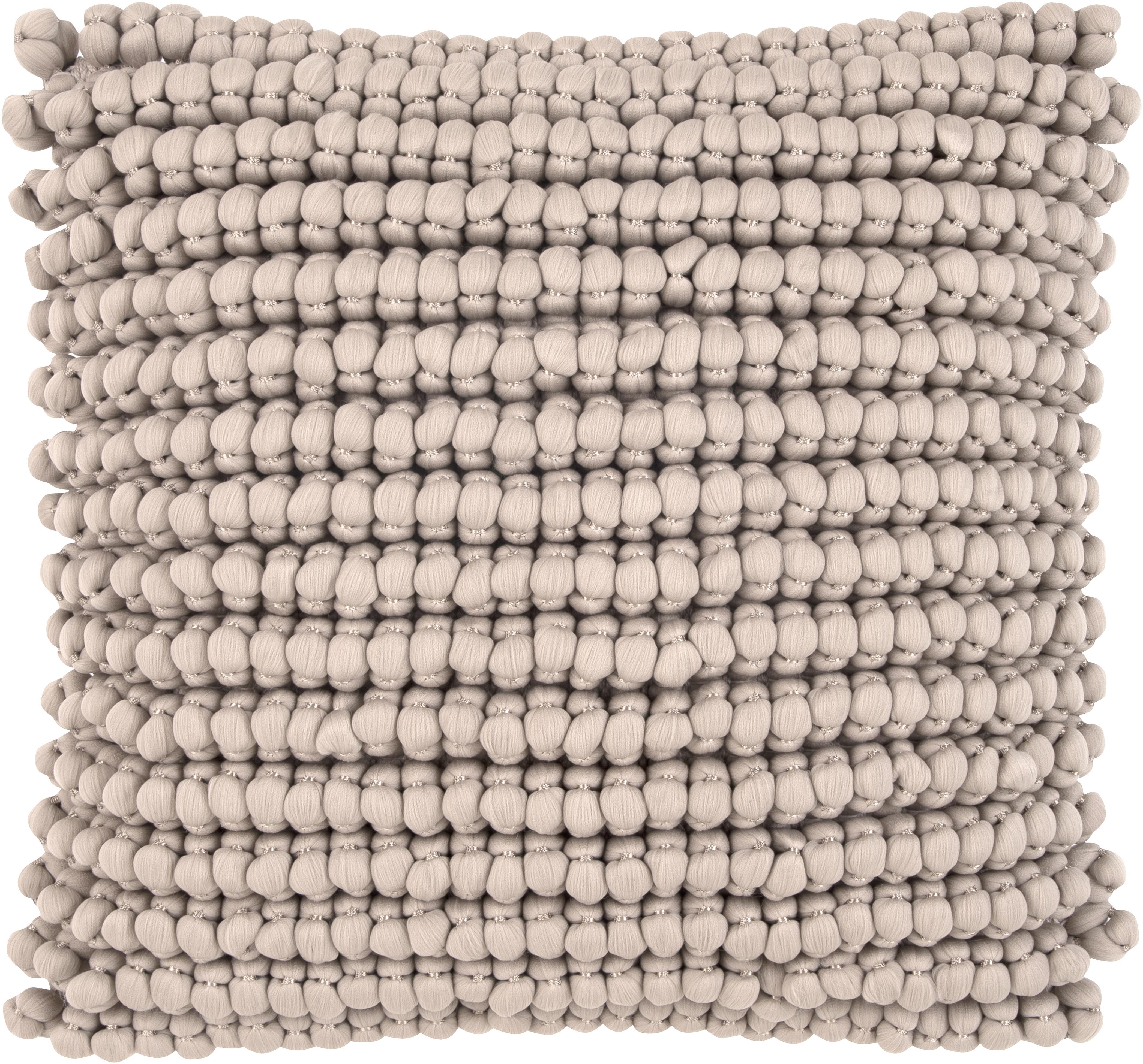 Kissenhülle Iona mit kleinen Stoffkugeln in Beige, Vorderseite: 70% Polyester, 30% Baumwo, Rückseite: Baumwolle, Beige, 45 x 45 cm