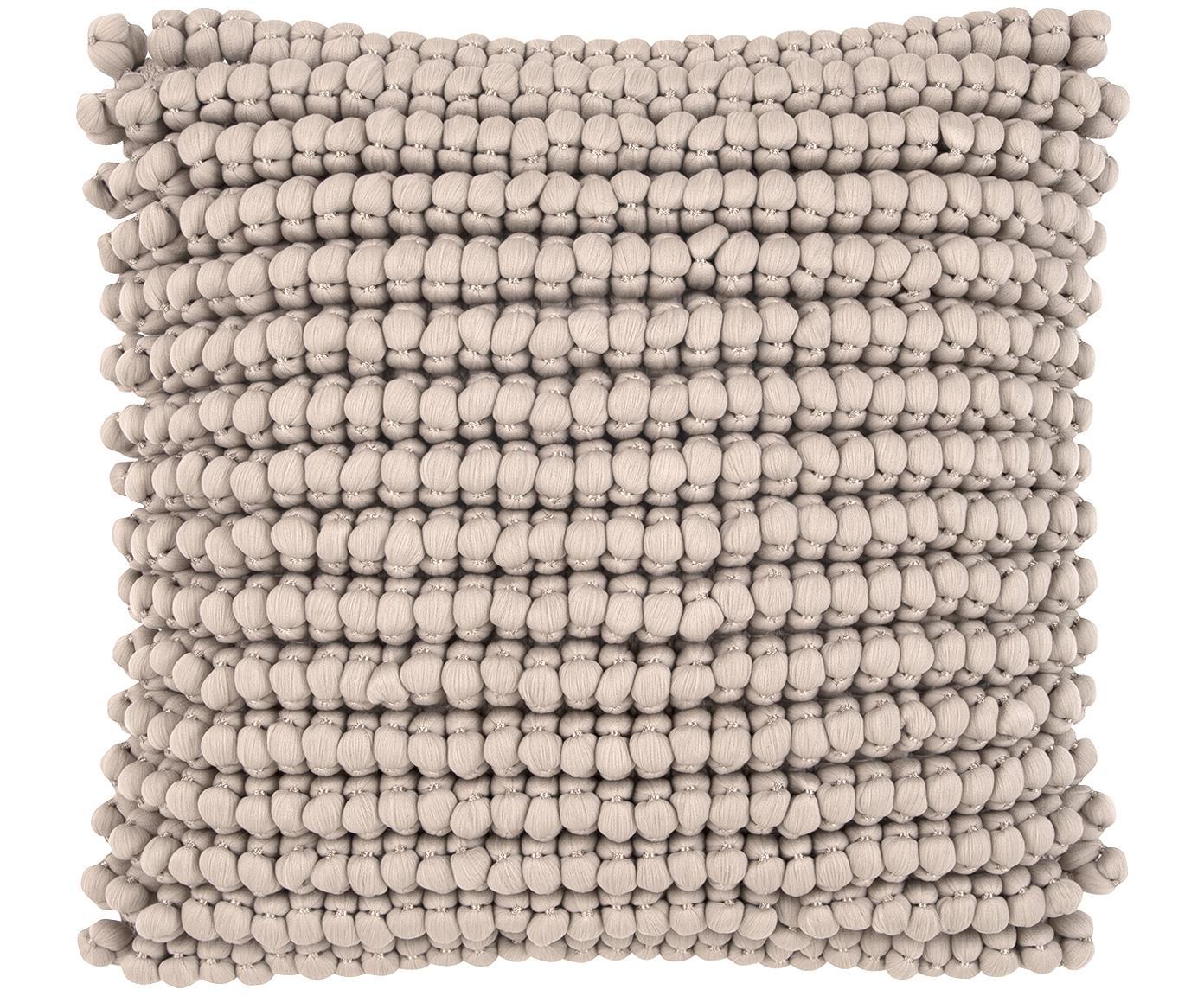 Funda de cojín en tejido de bolitas Iona, Parte delantera: 70%poliéster, 30%algodó, Parte trasera: algodón, Beige, An 45 x L 45 cm