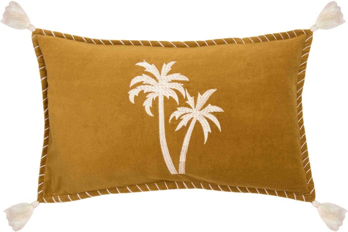 Kussenhoes Bali met palmen borduurwerk en kwastjes, 50% katoen 50% polyester, Mosterdgeel, wit, 30 x 50 cm
