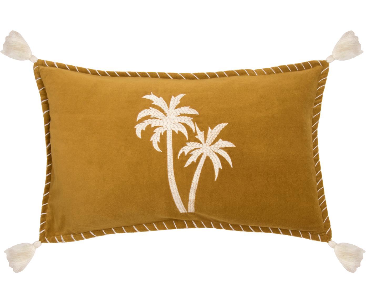 Kissenhülle Bali mit Palmen-Stickerei und Quasten, 50% Baumwolle, 50% Polyester, Senfgelb, Weiss, 30 x 50 cm