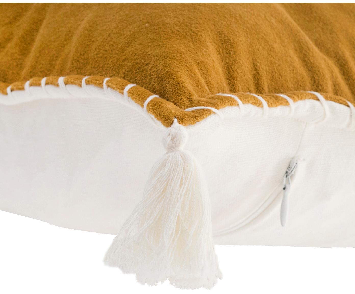 Haftowana poszewka na poduszkę z chwostami Bali, 50% bawełna, 50% poliester, Musztardowy, biały, S 30 x D 50 cm