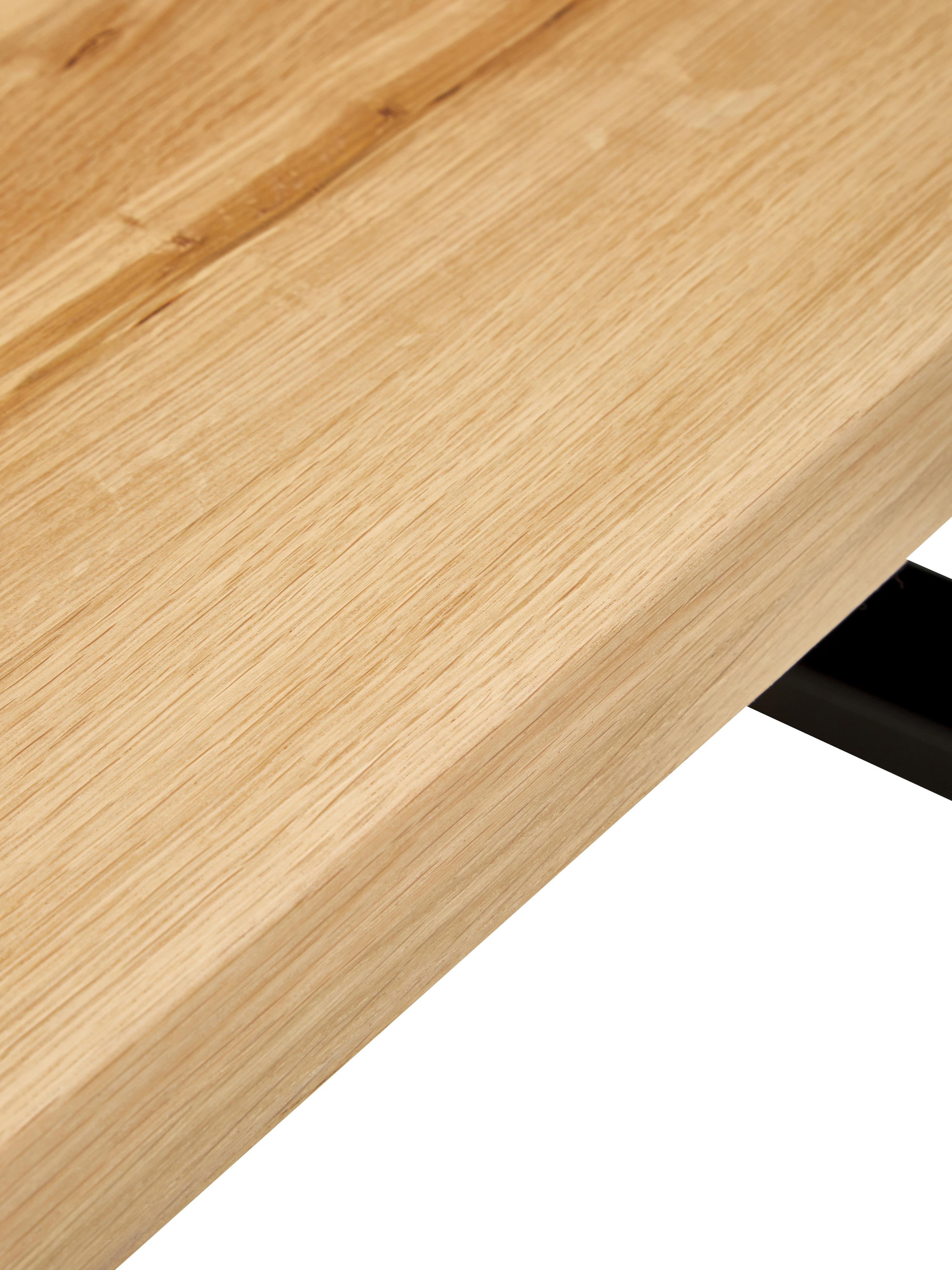Esstisch Oliver mit Massivholzplatte, Tischplatte: Wildeichenlamellen, massi, Beine: Metall, lackiert, Tischplatte: Wildeiche, Beine: Mattschwarz, B 180 x T 90 cm