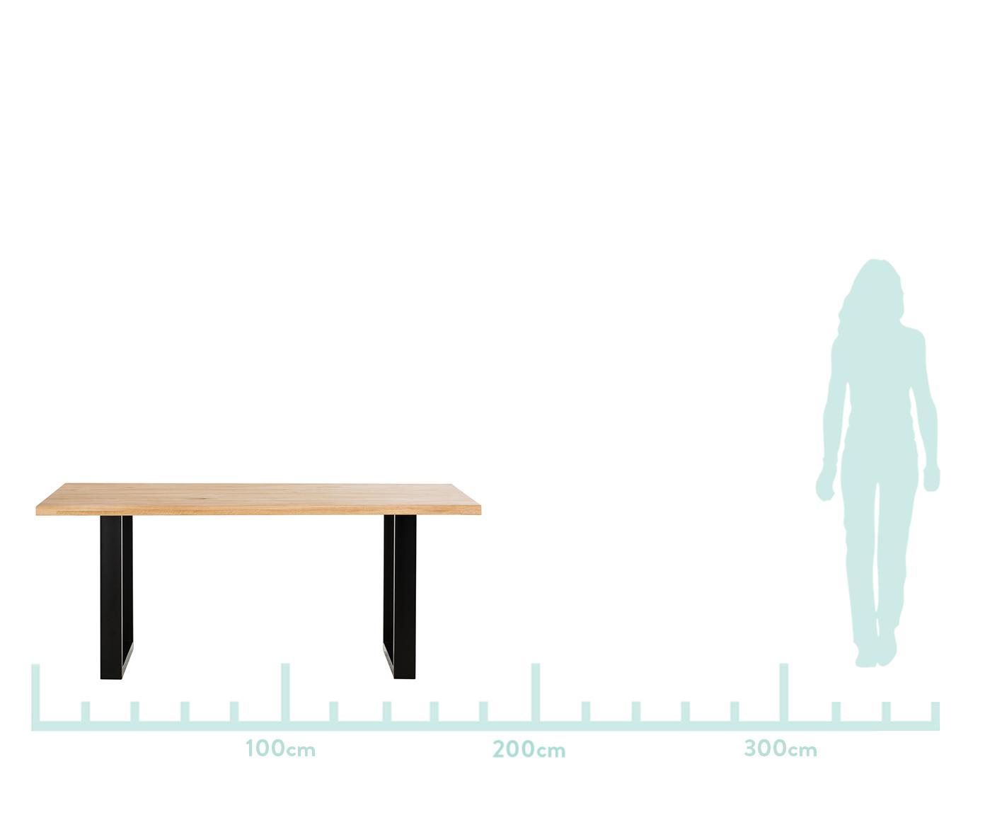 Mesa de comedor Oliver, tablero de madera maciza, Tablero: madera de roble maciza y , Patas: acero mate lacado, Roble natural, negro mate, An 180 x F 90 cm