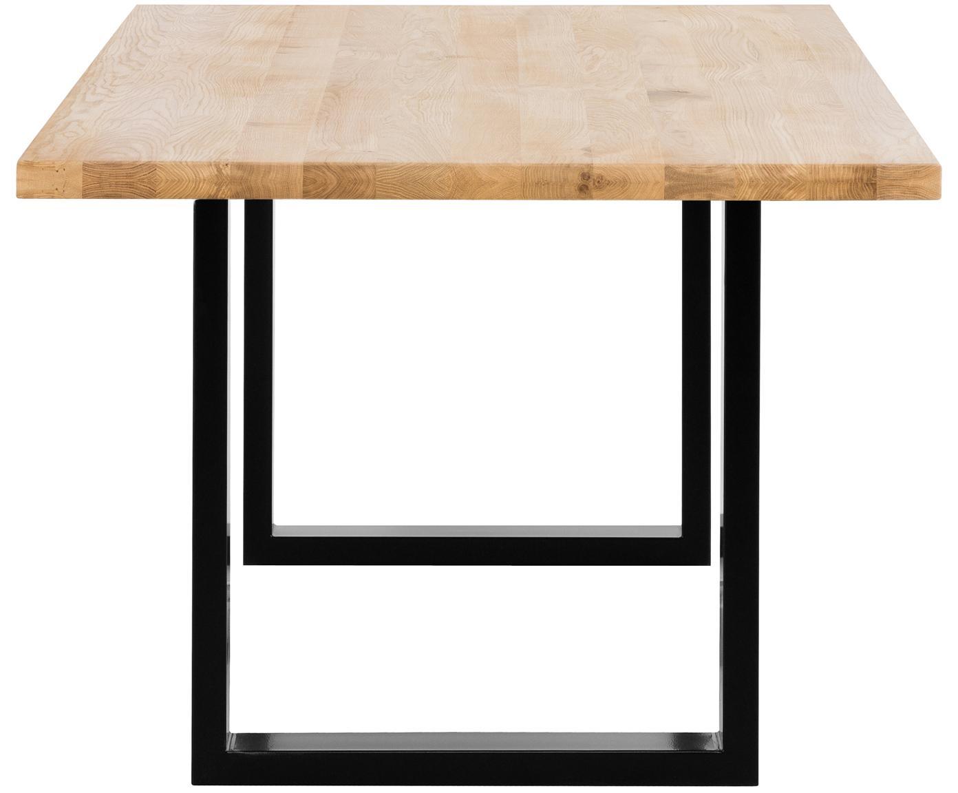 Stół do jadalni  z litego drewna Oliver, Blat: europejskie, dzikie lite , Nogi: stal lakierowana matowo, Blat: drewno dębowe Nogi: czarny, matowy, S 180 x G 90 cm