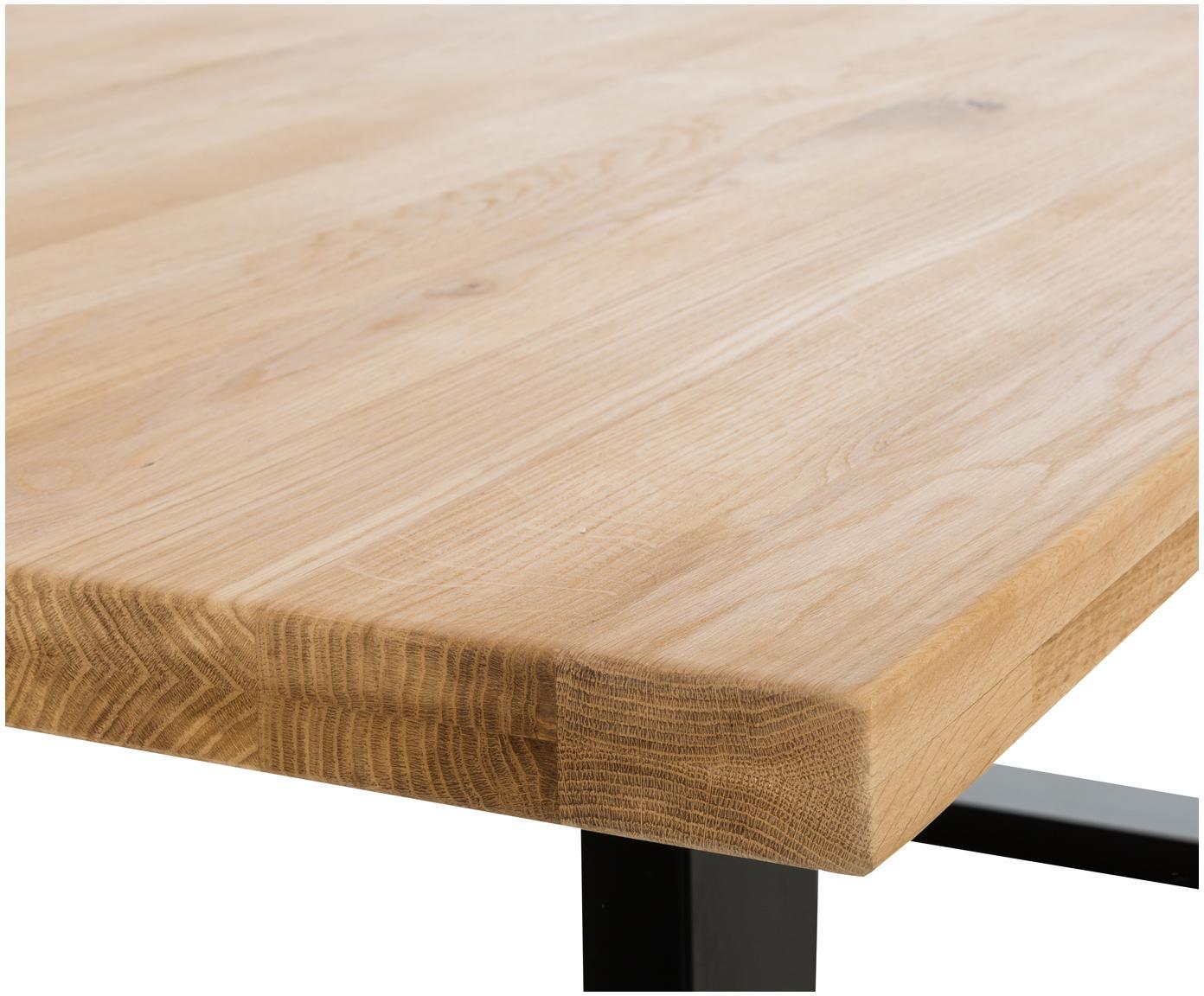Massief houten eettafel Oliver, Tafelblad: geolied massief Europees , Poten: mat gelakt staal Het FSC-, Tafelblad: eikenhoutkleurig. Poten: mat zwart, B 180 x D 90 cm