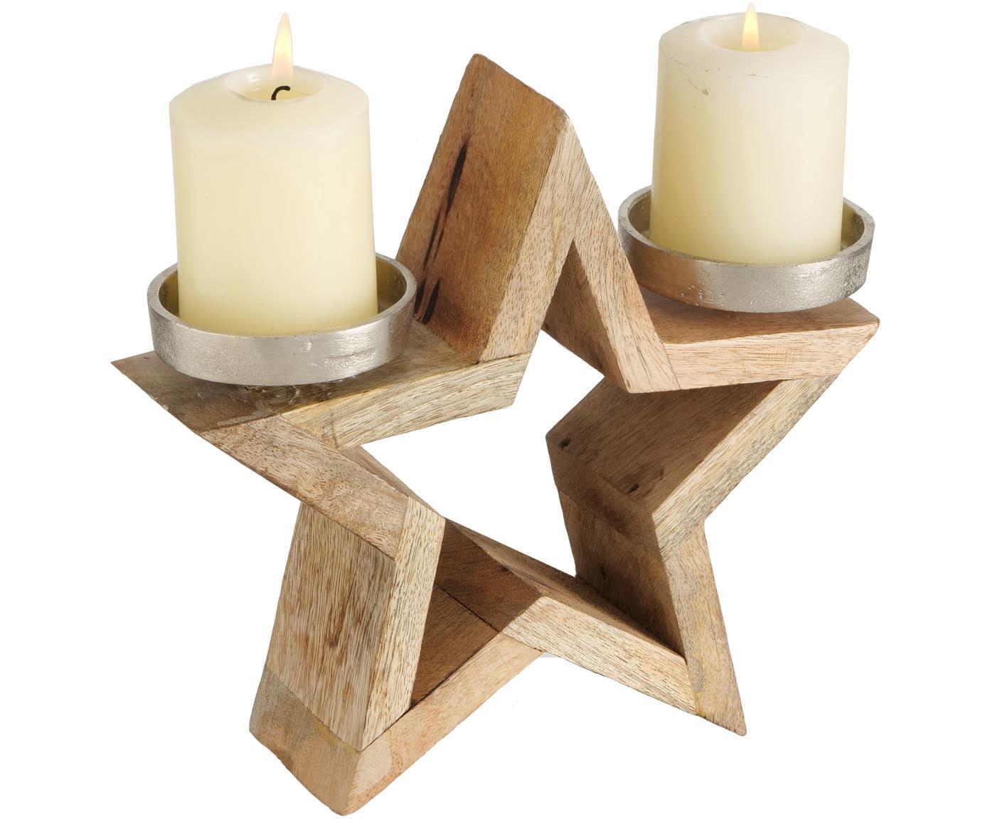 Świecznik Lavigna, Drewno mangowe, aluminium, niklowany, Drewno mangowe, nikiel, S 24 x W 22 cm