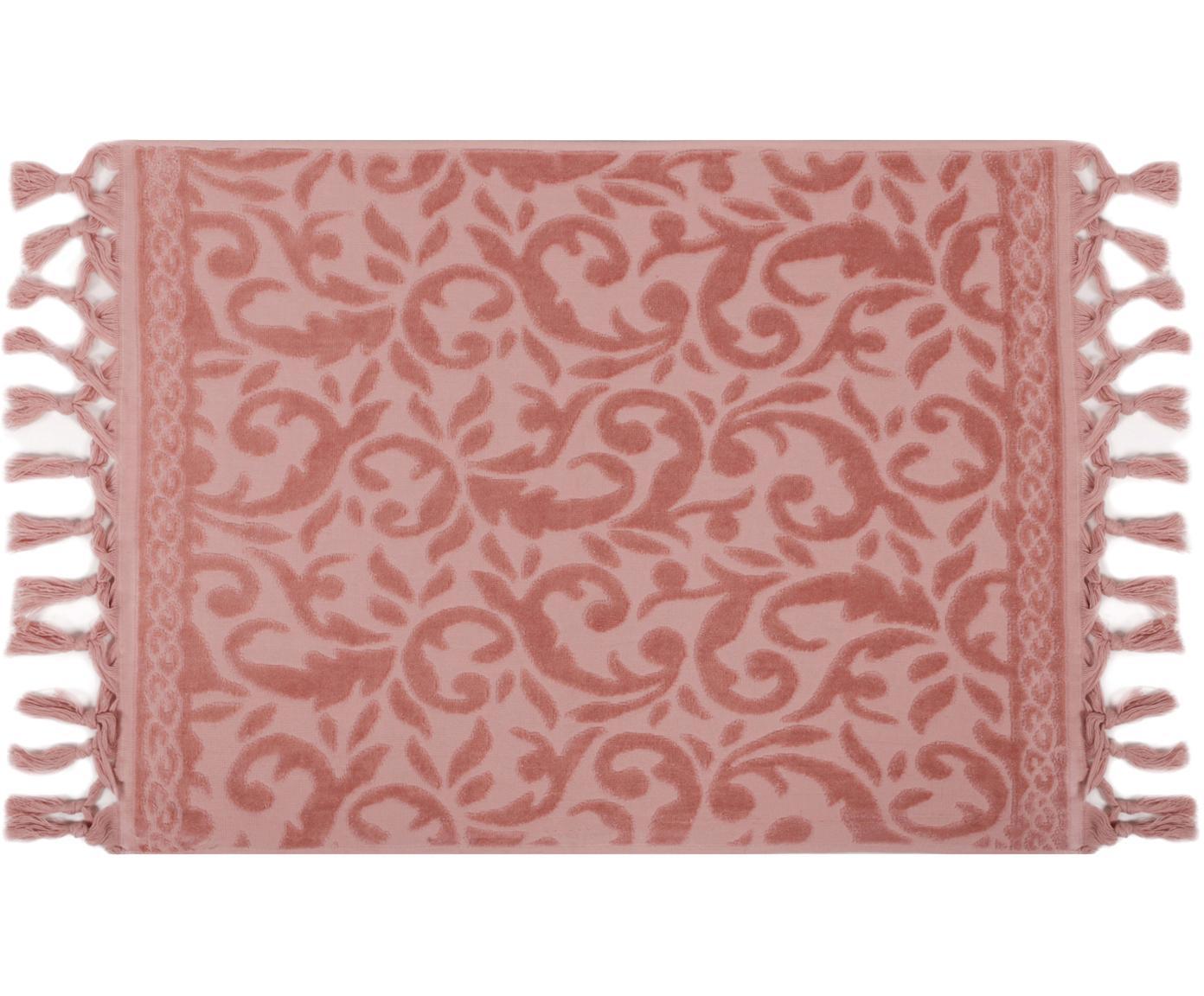 Badmat Caroline met fluwelen paisley patroon, Katoen, Roze, 50 x 70 cm