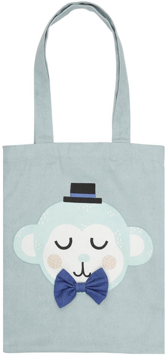 Borsa in cotone organico Monkey Monty, Cotone organico, Blu, bianco, rosa, nero, Larg. 25 x Alt. 32 cm