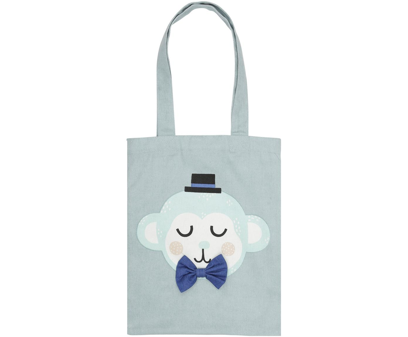 Tragetasche Monkey Monty aus Bio-Baumwolle, Bio-Baumwolle, Blau, Weiß, Rosa, Schwarz, 25 x 32 cm