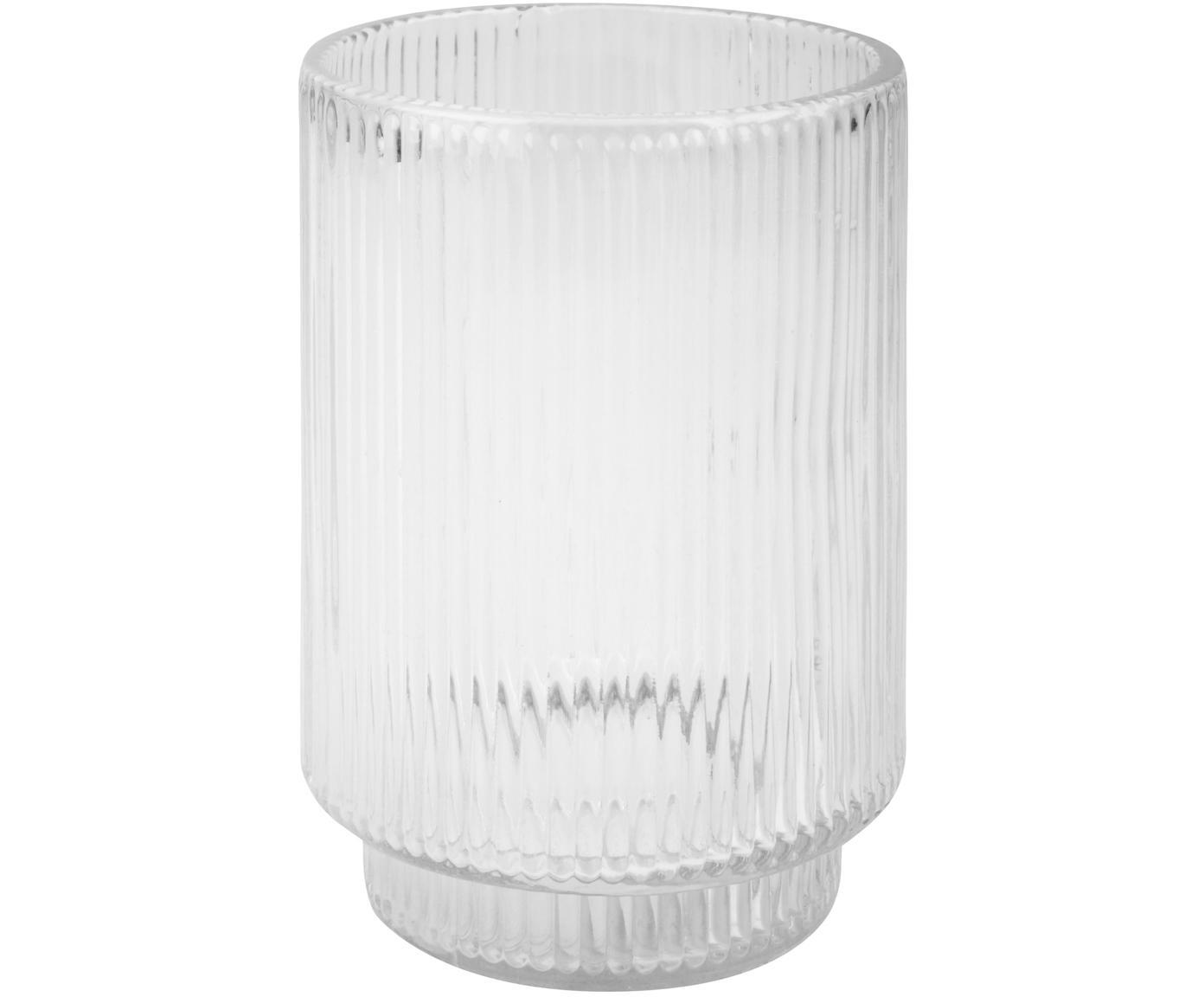 Tandenborstelbeker Ligia van geribbeld glas, Glas, Transparant, Ø 7 x H 10 cm