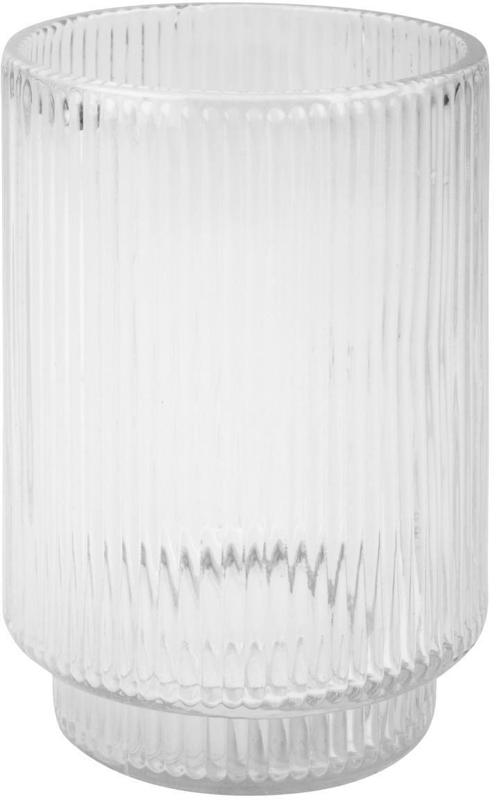Zahnputzbecher Ligia aus geriffeltem Glas, Glas, Transparent, Ø 7 x H 10 cm
