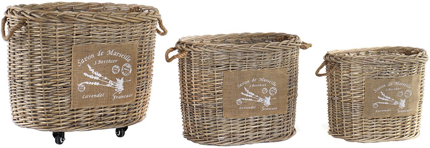 Set de cestas Put Me, 3pzas., Beige, Set de diferentes tamaños