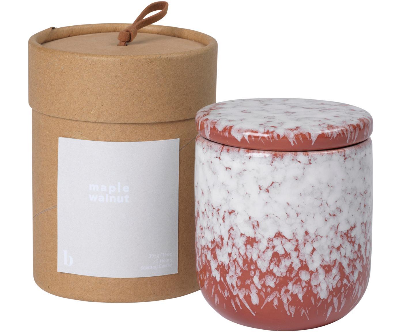 Geurkaars Maple Walnut, Houder: keramiek, Rood, wit, Ø 8 cm