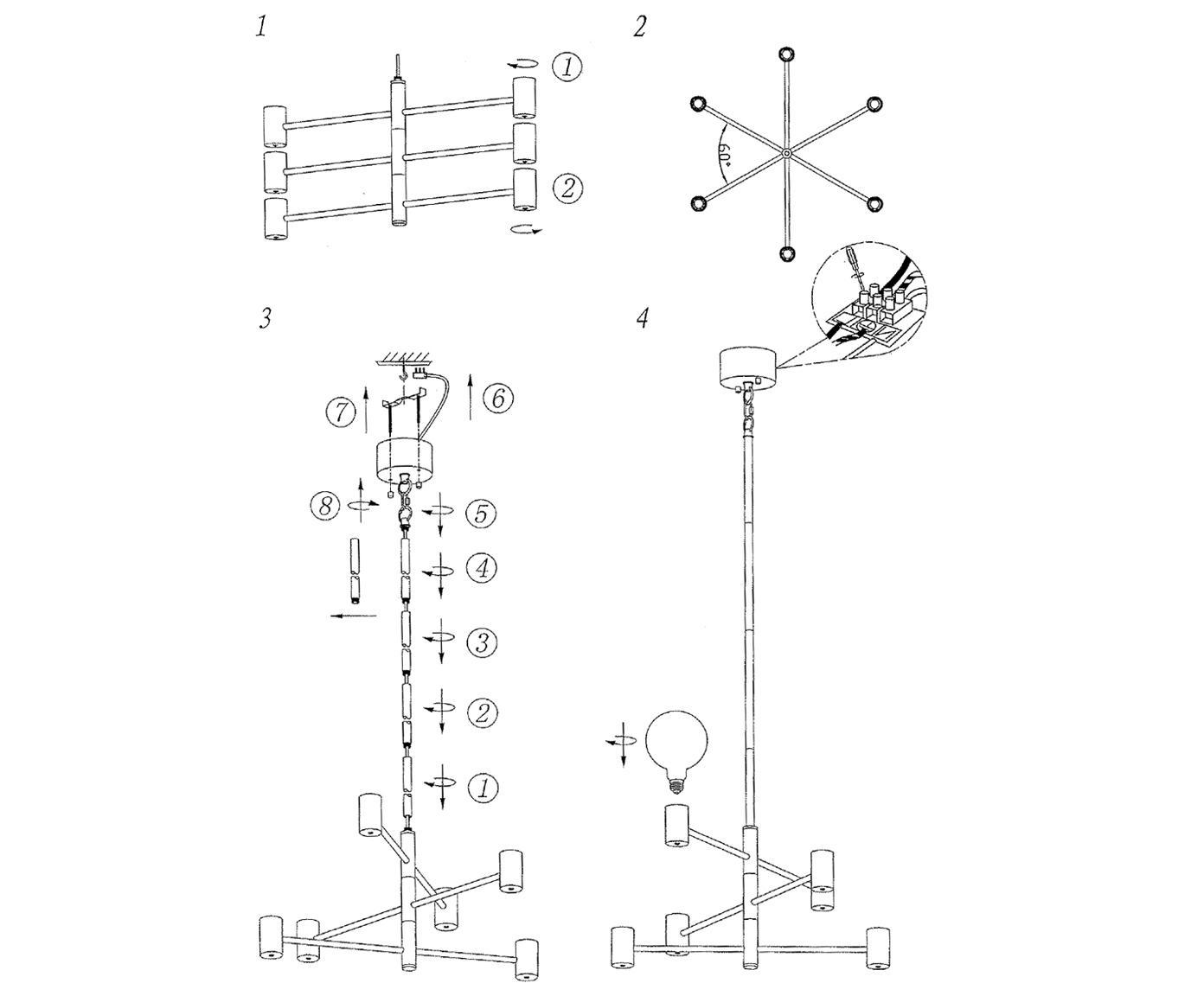 Hanglamp Capital, Vermessingd metaal, Messingkleurig, Ø 63 cm