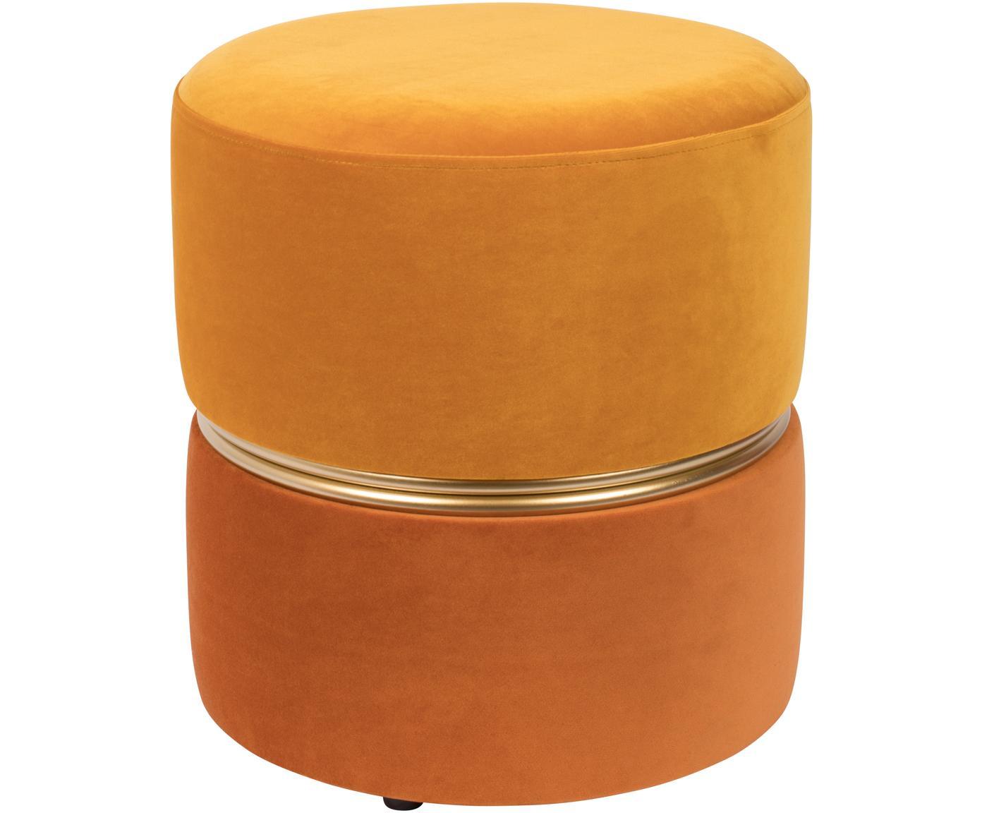 Fluwelen poef Bubbly, Bekleding: polyester fluweel, Frame: MDF, grenenhout, Geeltinten, Ø 35 x H 39 cm