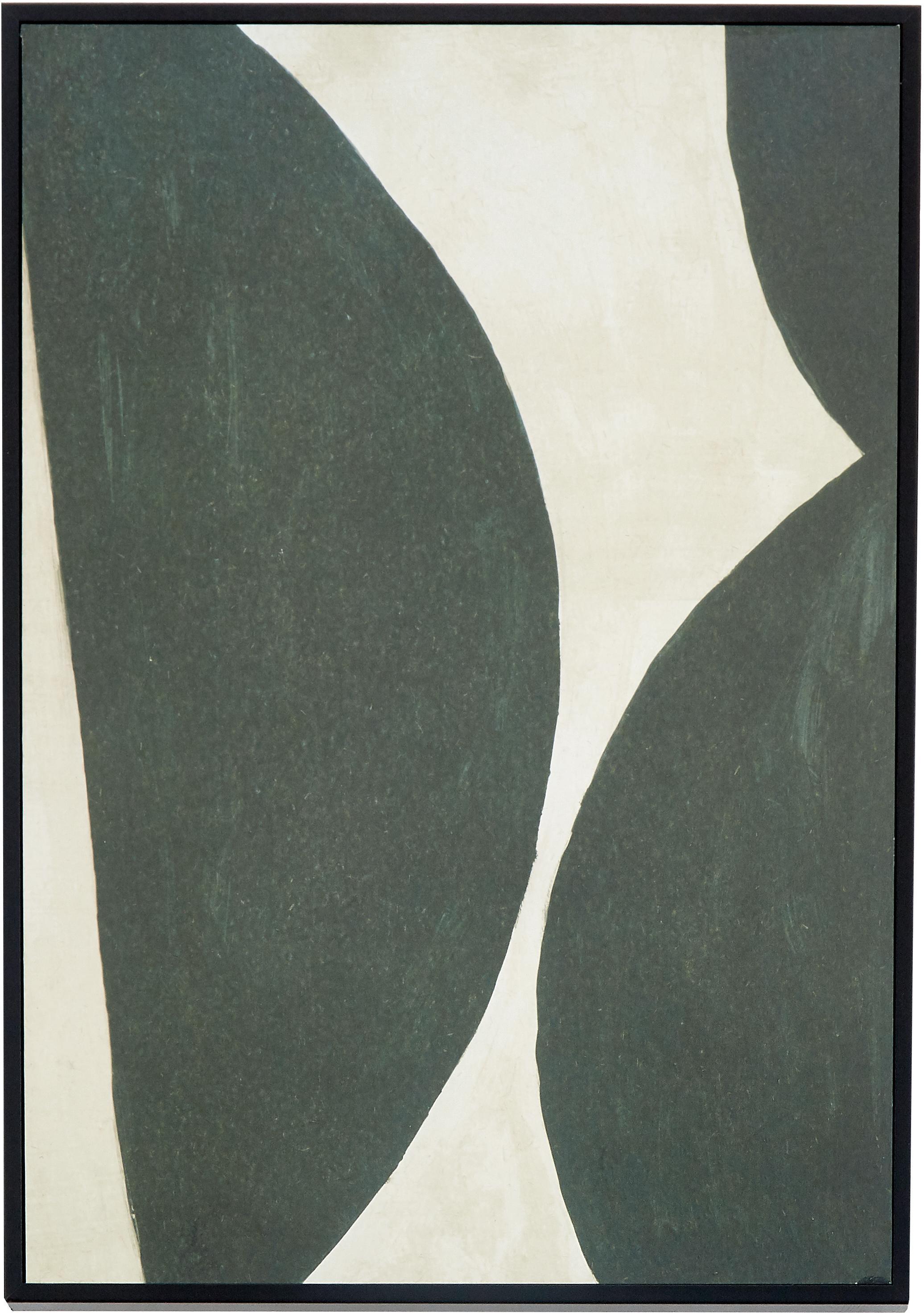 Stampa digitale incorniciata Rera, Immagine: carta riciclata, Cornice: pannello di fibra a media, Verde, crema, Larg. 25 x Alt. 35 cm