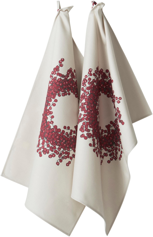 Ręcznik kuchenny Krans, 2 szt., 100% bawełna pochodząca ze zrównoważonych upraw, Kremowy, odcienie czerwonego, S 50 x D 70 cm