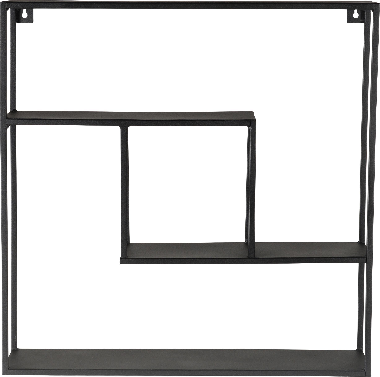 Zwarte metalen wandrek Expo, Gepoedercoat metaal, Zwart, 61 x 61 cm