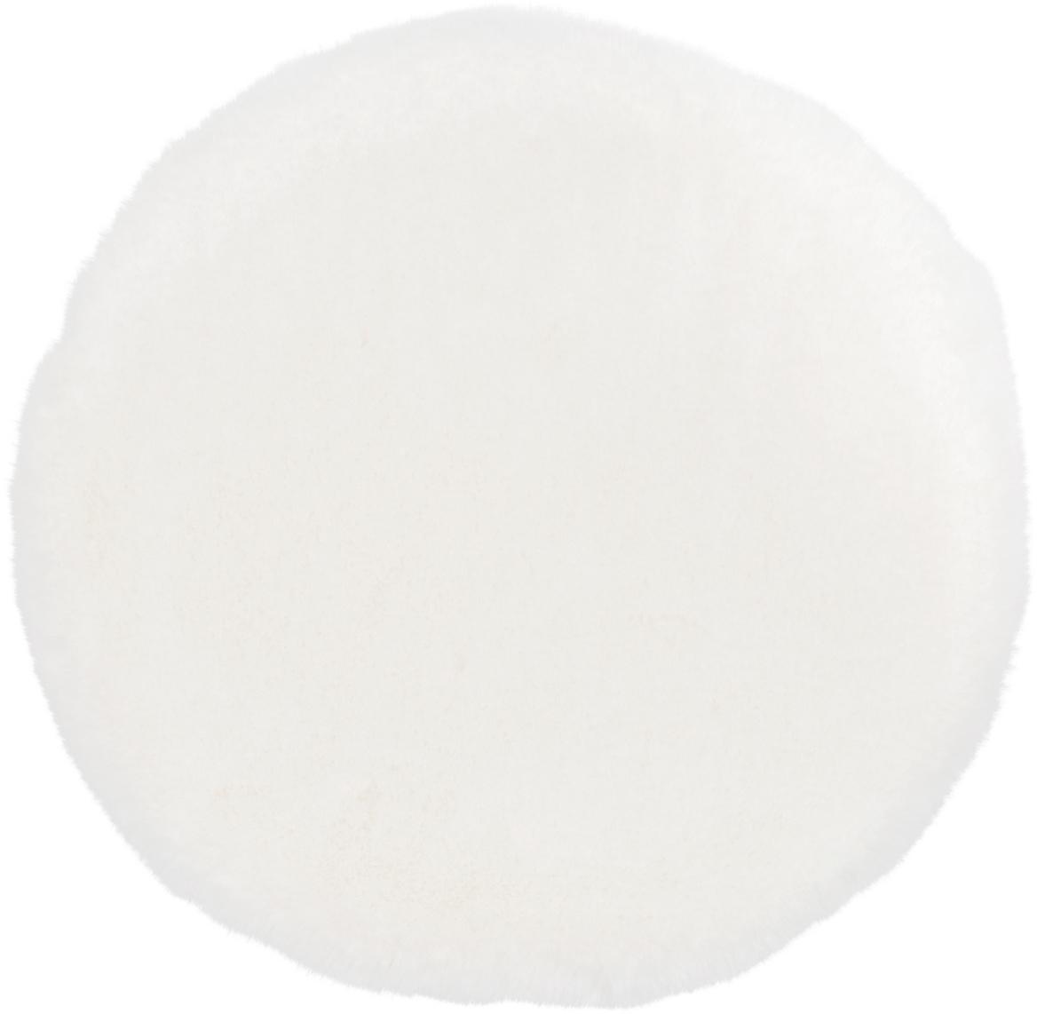 Rond zitkussen van imitatievacht Mette, glad, Crèmekleurig, Ø 37 cm