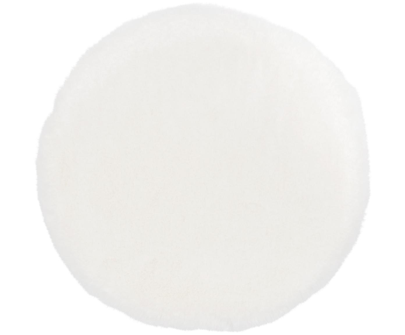 Zitkussen van imitatievacht Mette, glad, Crèmekleurig, Ø 37 cm