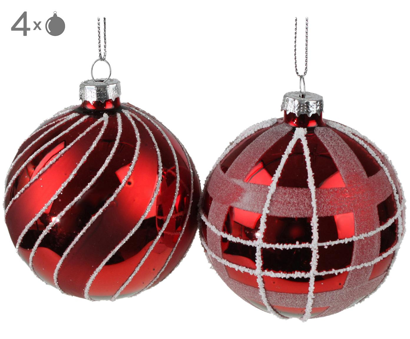 Kerstballenset Designs, 4-delig, Gelakt glas, Rood, Ø 8 cm