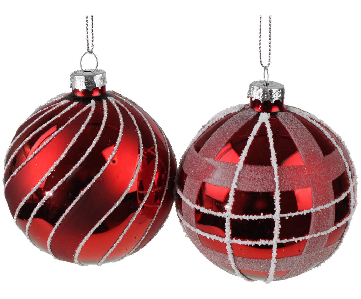 Weihnachtskugel-Set Designs Ø8cm, 4-tlg., Glas, lackiert, Rot, Ø 8 cm