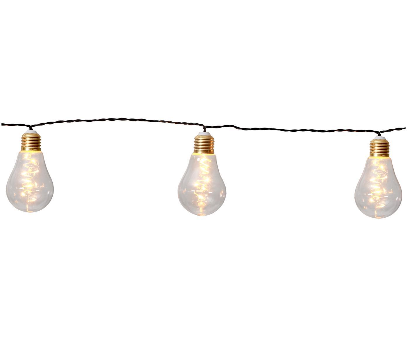 Guirnalda de luces LED Bulb, 360cm, Cable: plástico, Bombillas: transparente, dorado Cable: negro, L 360 cm