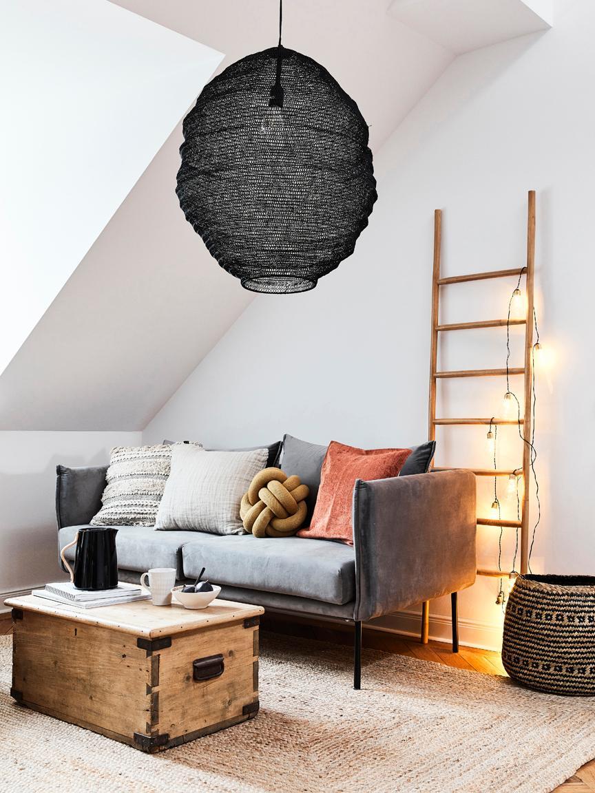 LED lichtslinger Bulb, Peertje: kunststof, metaal, Peertje: transparant, goudkleurig. Snoer: zwart, L 360 cm