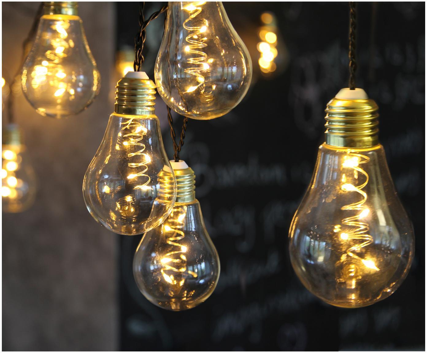 Girlanda świetlna LED Bulb, Żarówka: transparentny, odcienie złotego Kabel: czarny, D 360 cm