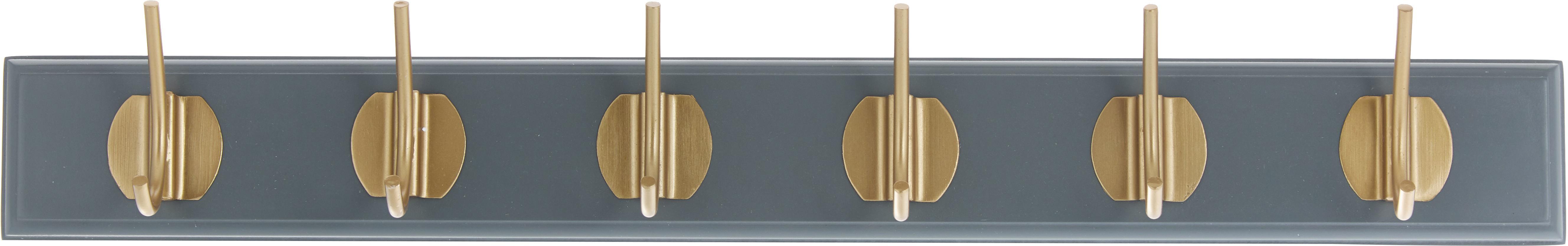 Wieszak ścienny z hakami z metalu Aoife, Szary, S 60 x W 7 cm