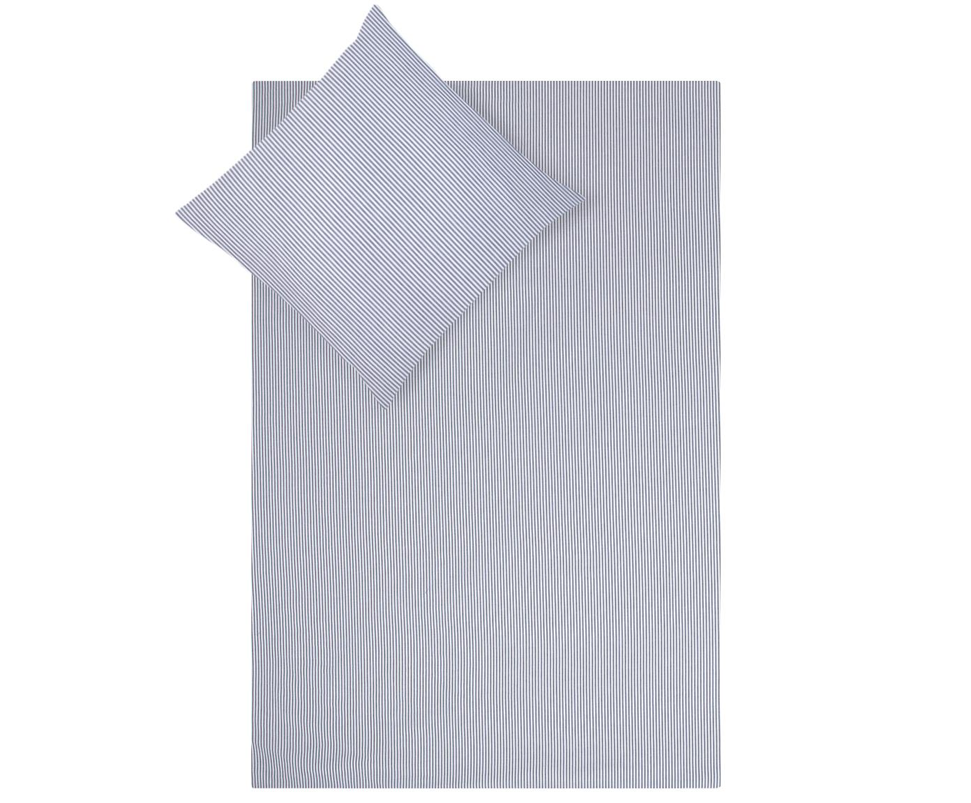 Baumwoll-Bettwäsche Ellie, fein gestreift, Webart: Renforcé Fadendichte 118 , Weiß, Dunkelblau, 135 x 200 cm + 1 Kissen 80 x 80 cm