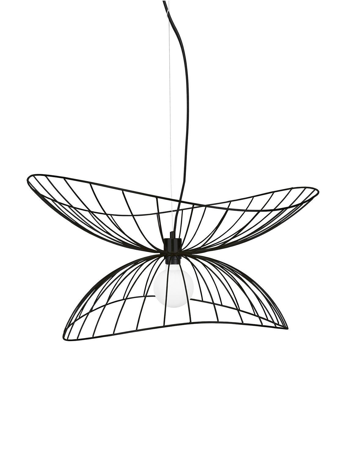 Design Pendelleuchte Ray, Metall, beschichtet, Schwarz, Ø 70 x H 36 cm