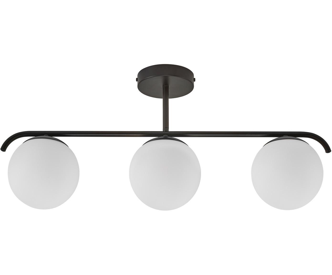 Lámpra de techo de vidrio opalino Grant, Pantalla: vidrio, Estructura: metal recubierto, Anclaje: metal recubierto, Blanco, negro, L 70 x Al 30 cm