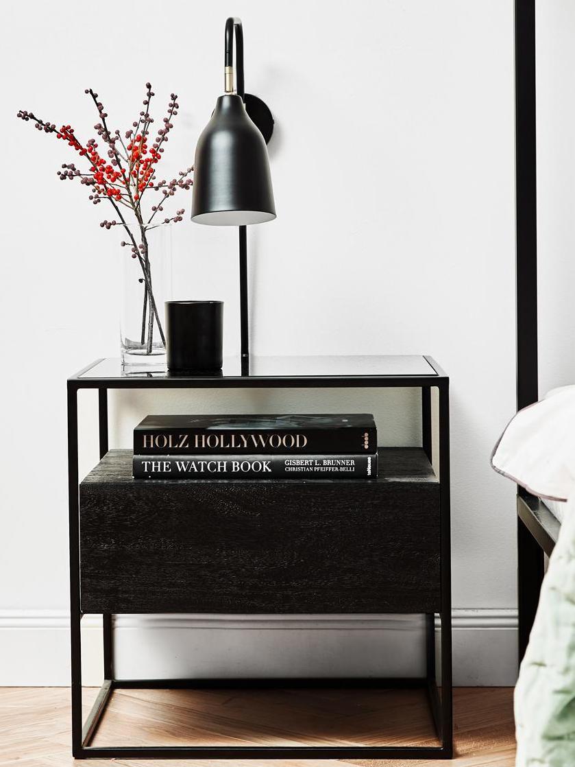 Beistelltisch Theodor mit Schublade, Tischplatte: Glas, Gestell: Metall, pulverbeschichtet, Schwarz, 45 x 50 cm
