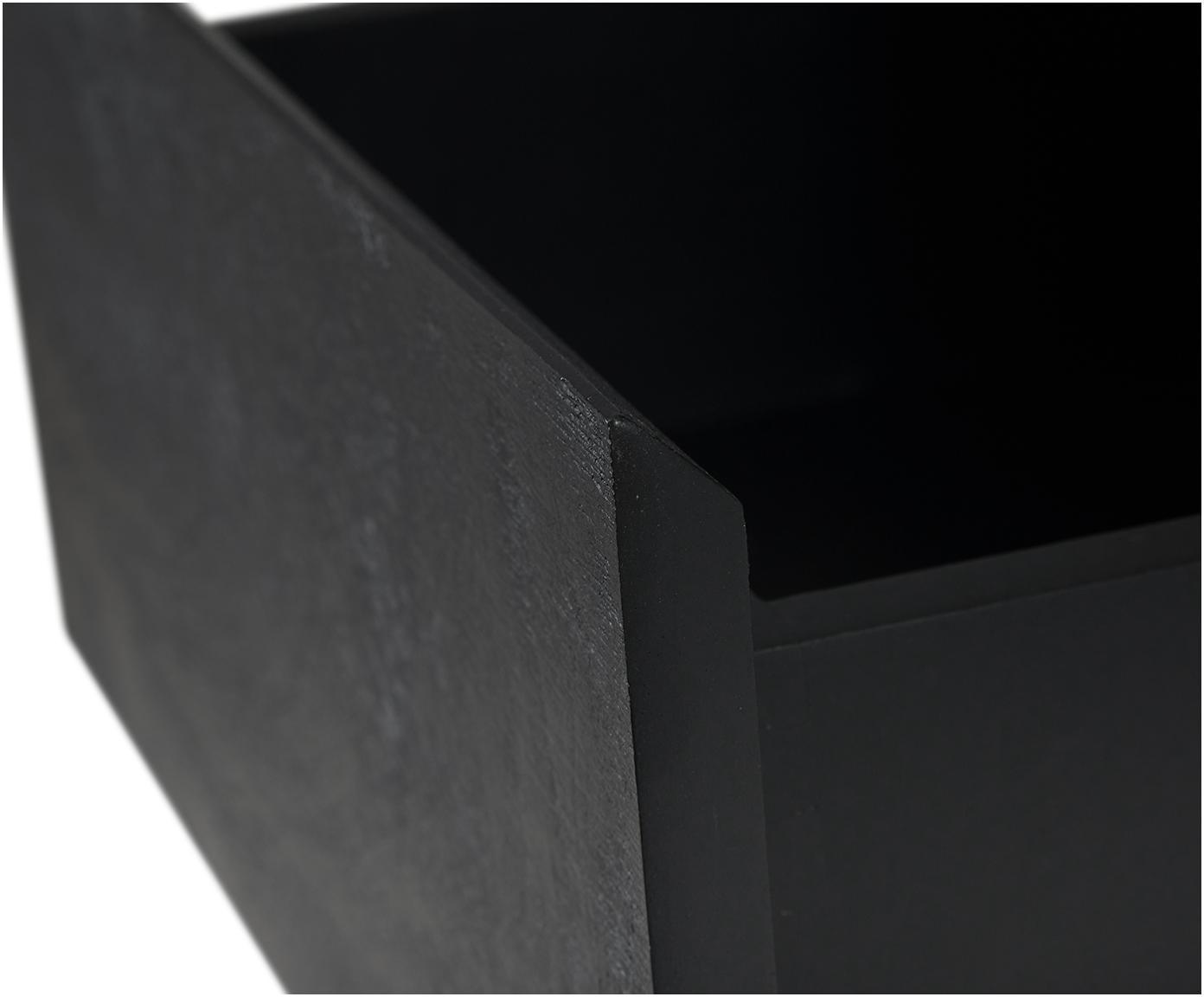 Stolik pomocniczy z szufladą Theodor, Blat: szkło, Stelaż: metal malowany proszkowo, Czarny, S 45 x W 50 cm