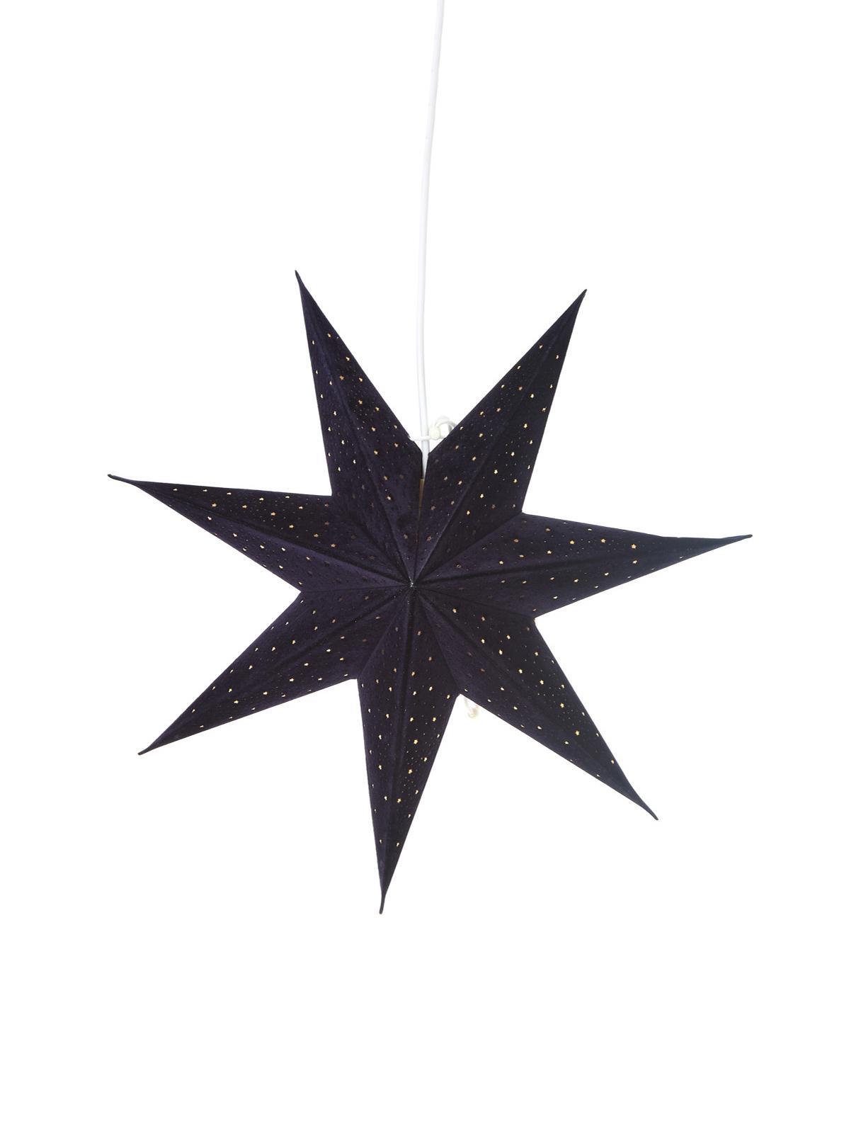 Estrella navideña de terciopelo Orby, Papel, terciopelo, Azul oscuro, dorado, Ø 45 cm