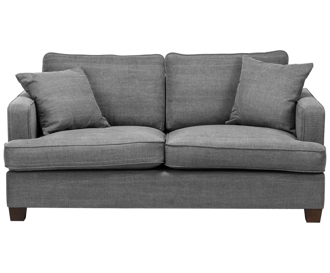 Duża sofa Warren (2-osobowa), Stelaż: drewno naturalne, Tapicerka: 60%bawełna, 40%len Tkan, Nogi: czarne drewno, Szary, S 178 x W 85 cm