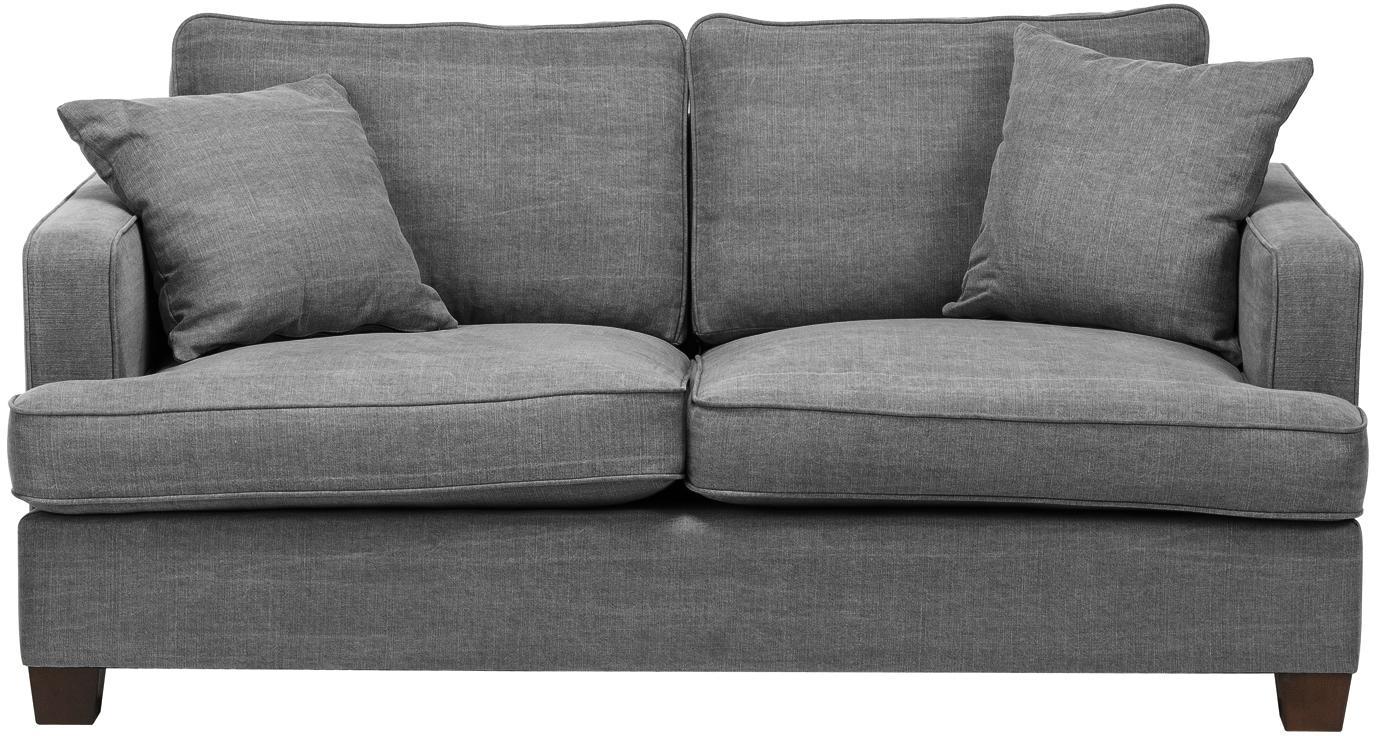 Divano 2 posti in tessuto grigio Warren, Struttura: legno, Rivestimento: 60% cotone, 40% lino Il r, Gambe: legno nero, Tessuto: grigio, Larg. 178 x Alt. 85 cm