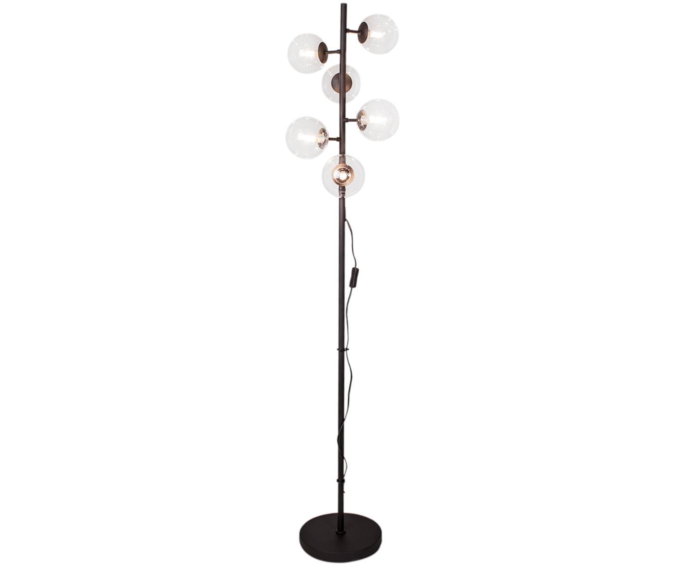 Lampada da terra multi-fiamma Move, Paralume: vetro, Base della lampada: metallo rivestito, Nero trasparente, Ø 35 x Alt. 160 cm
