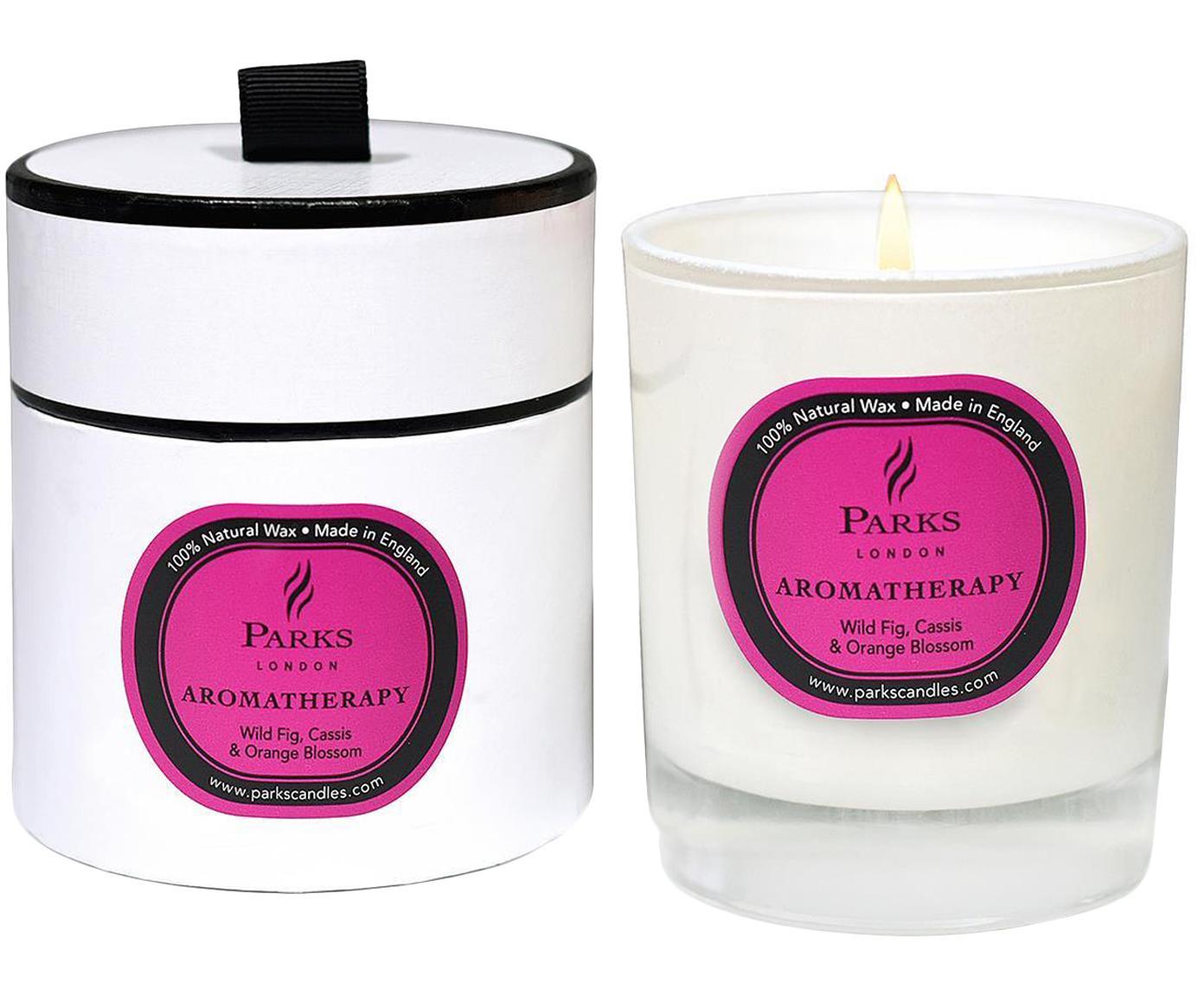 Duftkerze Aromatherapy (Feige, Cassis & Orange), Behälter: Glas, Transparent, Weiß, Pink, Ø 8 x H 9 cm